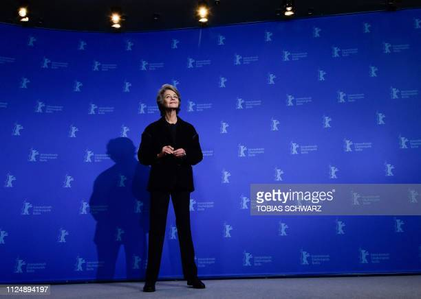 TOPSHOT British actress Charlotte Rampling poses during a photocall before being awarded with an Honorary Golden Bear at the 69th Berlinale film...