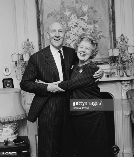 British actress Cicely Courtneidge and her husband actor Jack Hulbert at home in London on their Golden Wedding anniversary 14th February 1966