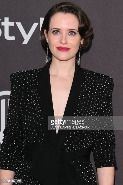 British actress Claire Foy arrives for the Warner Bros and In Style 20th annual post Golden Globes party at the Oasis Courtyard of the Beverly Hilton...