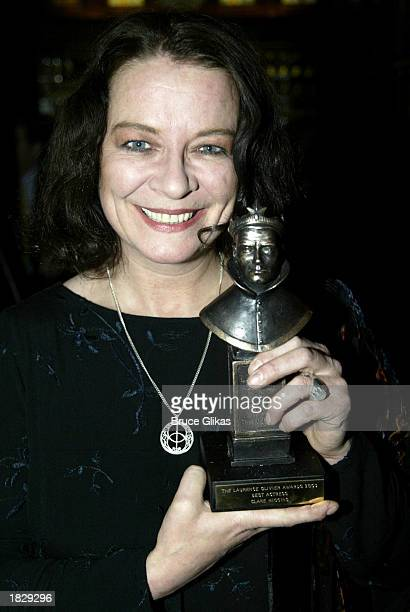 British Actress Clare Higgins holds her 2003 Laurence Olivier Award winner for Best Actress for 'Vincent in Brixton' at the Cottesloe and Wyndham's...