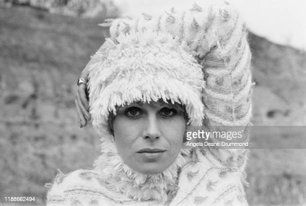 British actress comedian activist and fashion model Joanna Lumley wearing matching wool sweater and wool hat UK 27th April 1976