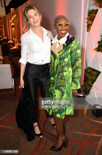 British actress Cynthia Erivo and US actress Renee Zellweger pose during the 2020 Oscars Nominees Luncheon at the Dolby theatre in Hollywood on...
