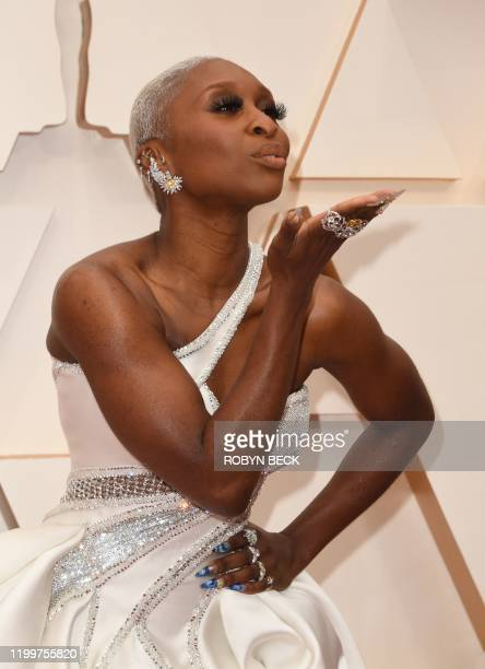 British actress Cynthia Erivo arrives for the 92nd Oscars at the Dolby Theatre in Hollywood California on February 9 2020
