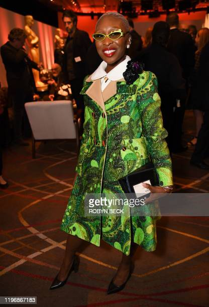 British actress Cynthia Erivo poses during the 2020 Oscars Nominees Luncheon at the Dolby theatre in Hollywood on January 27 2020