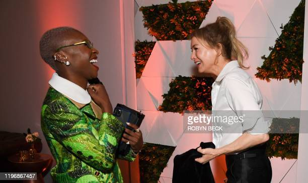 British actress Cynthia Erivo shares a laugh with US actress Renee Zellweger during the 2020 Oscars Nominees Luncheon at the Dolby theatre in...