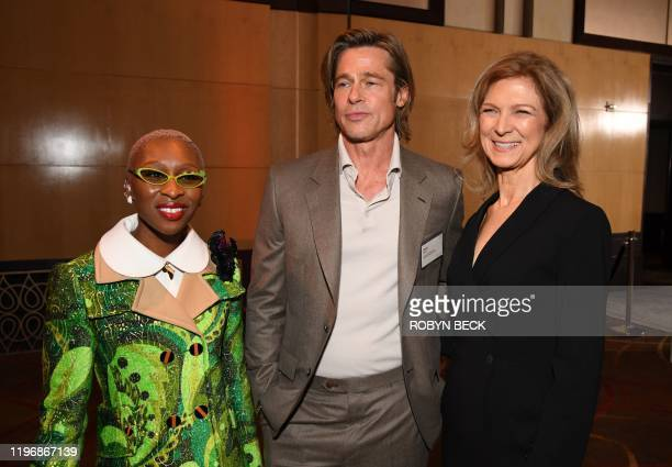 British actress Cynthia Erivo US actor Brad Pitt and Academy CEO Dawn Hudson pose during the 2020 Oscars Nominees Luncheon at the Dolby theatre in...