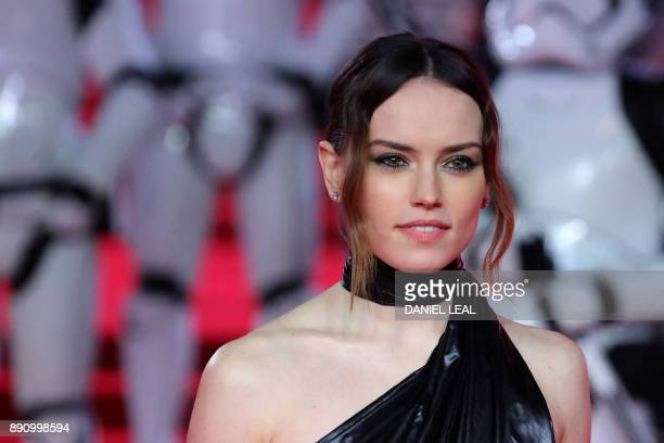 British actress Daisy Ridley poses on the red carpet for the European Premiere of Star Wars: The Last Jedi at the Royal Albert Hall in London on...