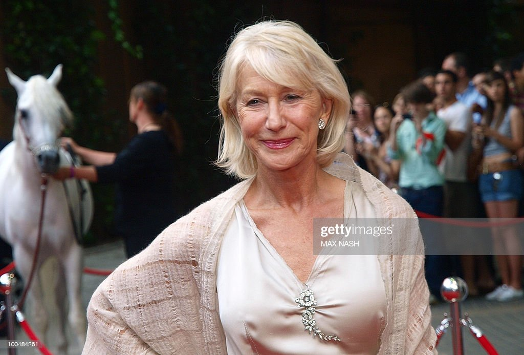 British actress Dame Helene Mirren arrfives to attend the Royal Premiere of Arabia 3D in London's South Bank, on May 24, 2010. AFP Photo/MAX