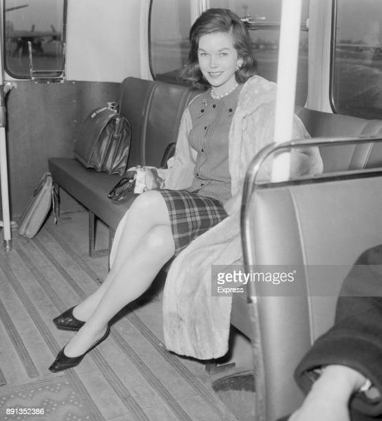 British actress Dawn Addams on a shuttle bus at Haethrow Airport 10th January 1963