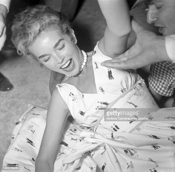 British actress Dawn Addams portrayed while falling on the floor 1955