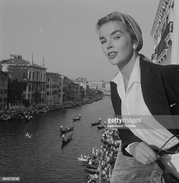 British actress Dawn Addams watching the Historical Regatta during the XVI Venice International Film Festival Venice 1955