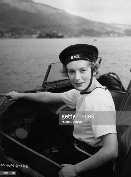British actress Deborah Kerr in a naval launch on the set for the film 'Perfect Strangers' directed by Alexander Korda for London Films Born Deborah...