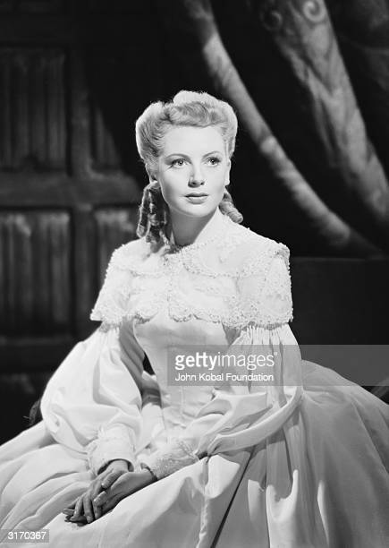 British actress Deborah Kerr in period costume for her role as Guglielma Springelt in 'Penn of Pennsylvania' directed by Lance Comfort
