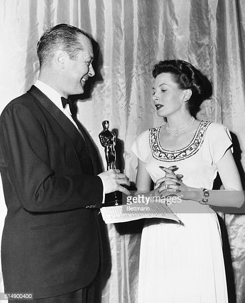 British actress Deborah Kerr who is making her American debut opposite Clark Gable in MetroGoldwynMayer's The Hucksters receives from Robert...