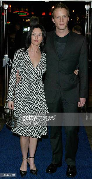 British actress Dervia Kirwan and actor Rupert PenryJones attend the film premiere of Charlotte Gray at the Odeon Cinema on February 12 2002 in London