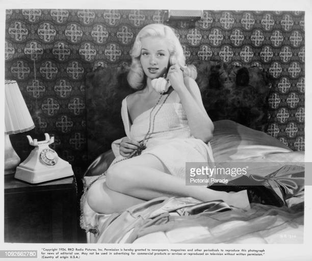 British actress Diana Dors in a scene from the RKO Radio Pictures film 'The Saint's Girl Friday', aka 'The Saint's Return', 1953.