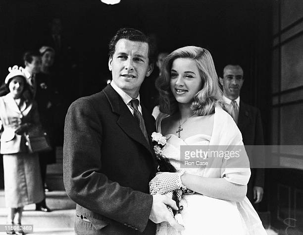 British actress Diana Dors with her husband Dennis Hamilton after their wedding at Caxton Hall Westminster London 3rd July 1951