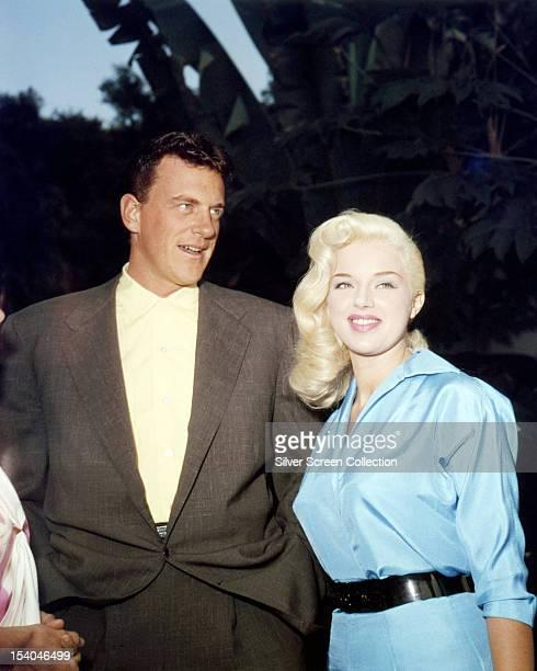 British actress Diana Dors with her husband Dennis Hamilton, circa 1955.