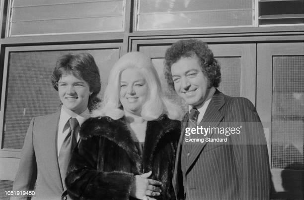 British actress Diana Dors with her son Gary Dawson and husband English actor Alan Lake UK 18th October 1979