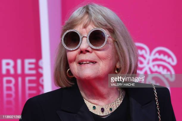 British actress Diana Rigg poses upon arrival for the opening ceremony of the 2nd edition of the Cannes International Series Festival on April 5 at...