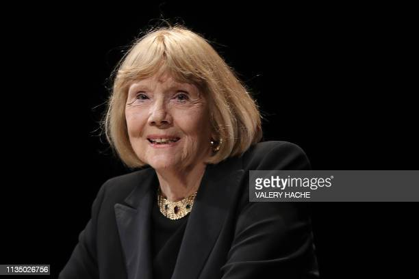 British actress Diana Rigg speaks as she receives the Icon Award during the opening ceremony of the 2nd edition of the Cannes International Series...