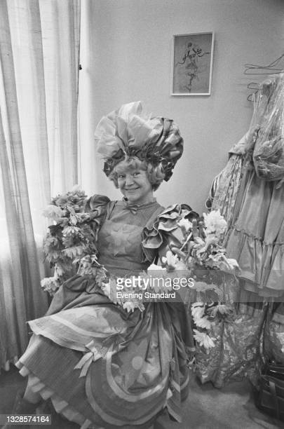 British actress Dora Bryan in costume for the pantomime 'Jack and the Beanstalk', UK, 27th November 1974.