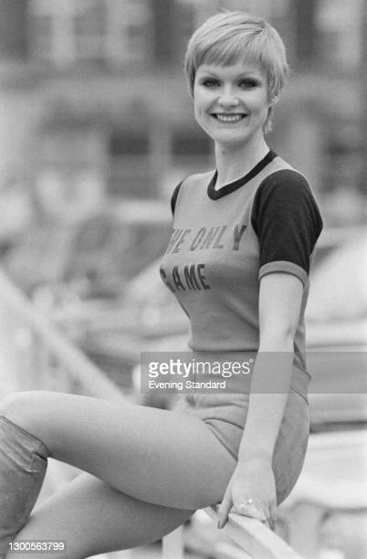 British actress Elaine Donnelly wearing a t-shirt reading 'The Only Game' at the home ground of Crystal Palace in London, UK, 20th March 1973. She is...