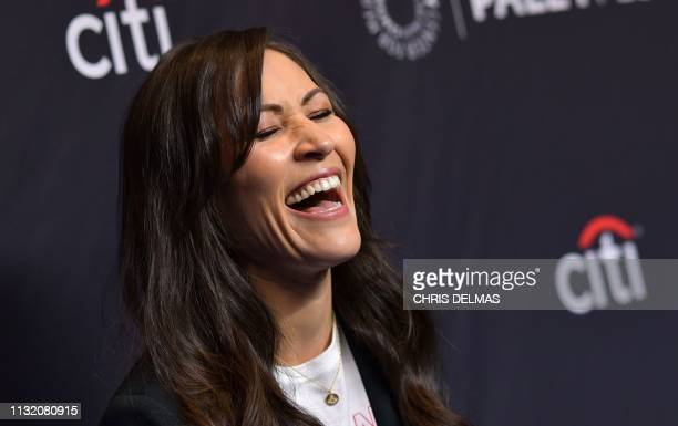 British actress Eleanor Matsuura arrives for the PaleyFest presentation of AMC's The Walking Dead at the Dolby theatre on March 22 2019 in Hollywood