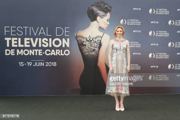 British actress Eleanor Tomlinson poses during a photocall for the TV show 'Poldark' as part of the 58th MonteCarlo Television Festival on June 18...