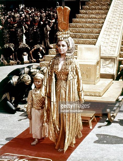 British actress Elizabeth Taylor on the set of Cleopatra directed by American Joseph L Mankiewicz