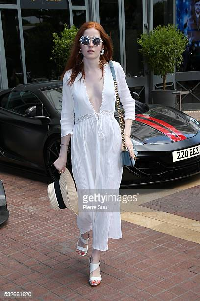 British actress Ellie Bamber arrives at the Majestic Hotel during the 69th Annual Cannes Film Festival on May 19 2016 in Cannes