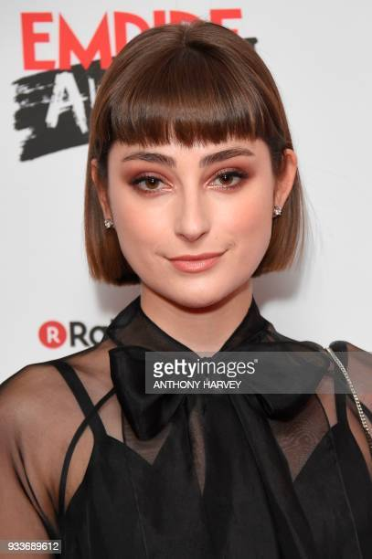 British actress Ellise Chappell poses arriving for the 23rd annual Empire Awards in London on March 18 2018 / AFP PHOTO / Anthony HARVEY