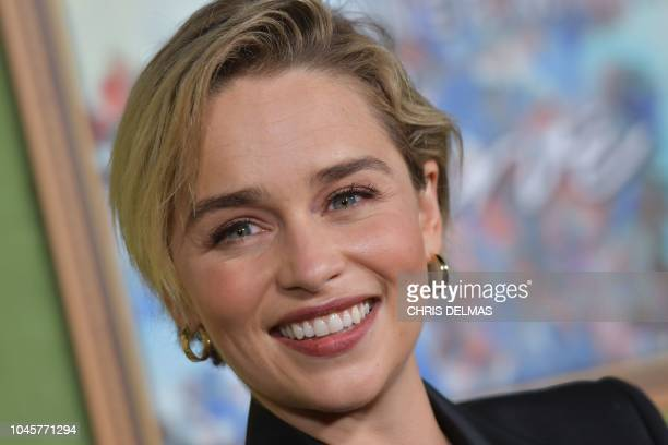 British actress Emilia Clarke arrives for the HBO premiere of 'My Dinner With Herve' on October 4 2018 at the Paramount Studios in Los Angeles