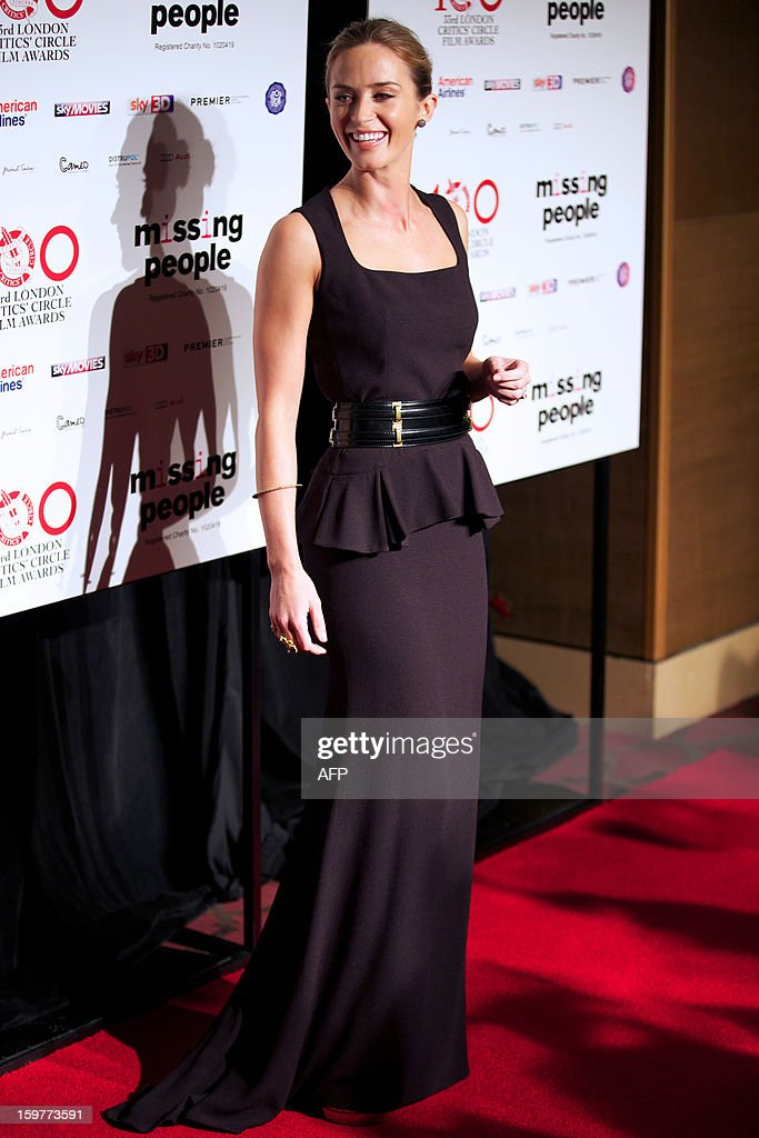 British actress Emily Blunt for pictures on the red carpet as she arrives for the 33rd London Critics Circle Film Awards in central London on January 20, 2013.