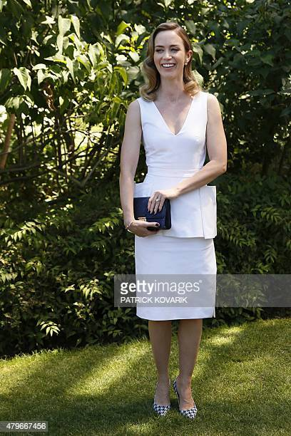British actress Emily Blunt poses prior to attend Christian Dior 20152016 fall/winter Haute Couture collection fashion show on July 6 2015 in Paris...