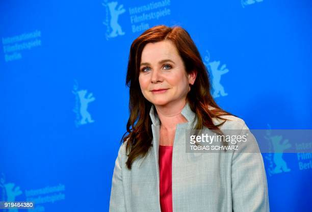 British actress Emily Watson poses during the photocall for the film The Happy Prince presented in the section Berlinale Special Gala at the...