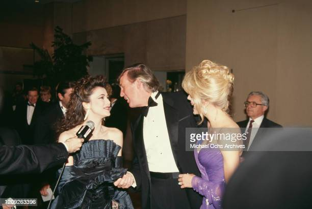 British actress Emma Samms with American businessman Donald Trump and American actress Marla Maples at the 1992 Soap Opera Digest Awards held at the...