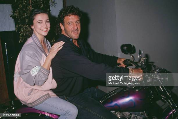 British actress Emma Samms with American football player Lyle Alzado at the grand opening of Alzado's his restaurant in West Hollywood California...