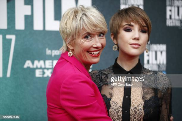 British actress Emma Thompson and her daughter Gaia Romilly Wise pose upon arrival for the UK premiere of the film The Meyerowitz Stories during the...