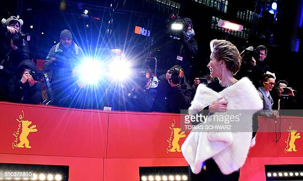 TOPSHOT British actress Emma Thompson arrives on the red carpet to promote the movie Alone in Berlin in competition at the 66th Berlinale Film...