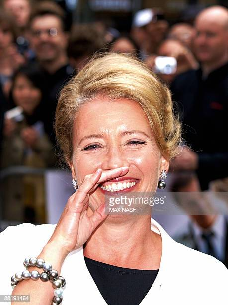 British actress Emma Thompson laughs as she arrives for the British Premiere of their latest film 'Last Chance Harvey' in London's Leicester Square...