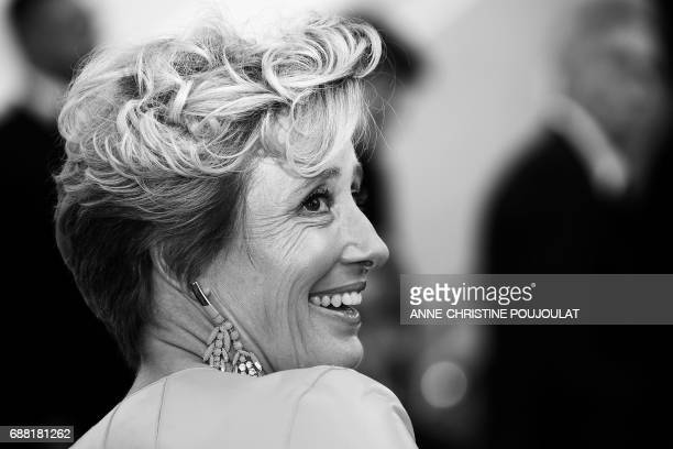 British actress Emma Thompson poses as she arrives on May 21, 2017 for the screening of the film 'The Meyerowitz Stories ' at the 70th edition of the...