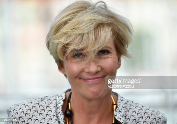British actress Emma Thompson poses on May 21, 2017 during a photocall for the film 'The Meyerowitz Stories ' at the 70th edition of the Cannes Film...