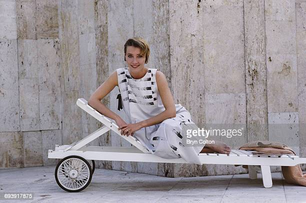 British actress Emma Thompson sits on a sun lounger and poses for a photograph as she takes break from filming the new BBC drama series 'Fortunes of...