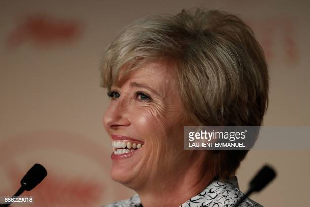 British actress Emma Thompson smiles on May 21 2017 during a press conference for the film 'The Meyerowitz Stories ' at the 70th edition of the...