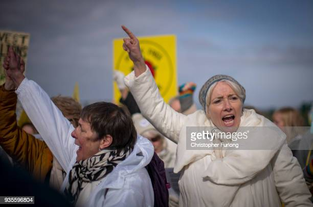 British actress Emma Thompson takes part in a protest march at the Preston New Road drill site where energy firm Cuadrilla have set up fracking...