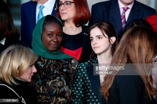 British actress Emma Watson and Mauritanian activist Aissata Lam pose with others during a family photograph following a meeting for Gender Equality...