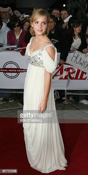 British actress Emma Watson arrives at the National Movie Awards held at the Royal Festival Hall in Central London on September 8 2008 AFP PHOTO/Ben...