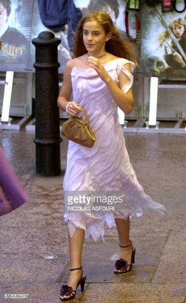 British actress Emma Watson arrives for the world film premiere of Harry Potter and the Chamber of Secrets in central London 03 November 2002 Emma...