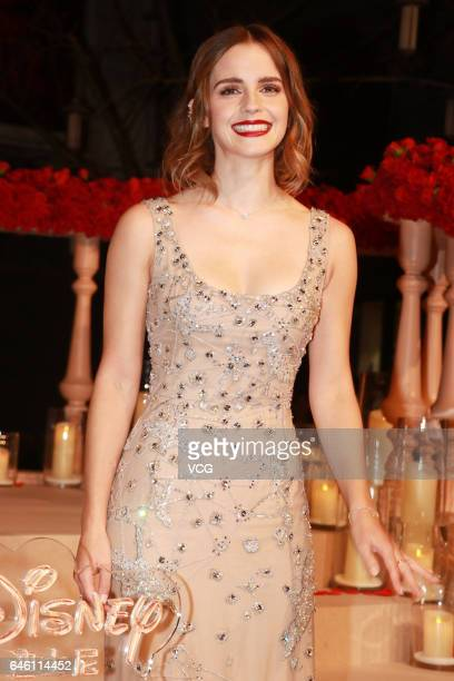 "British actress Emma Watson attends the premiere of American director Bill Condon's film ""Beauty and the Beast"" at Walt Disney Theatre on February..."